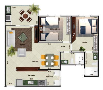 Planta apartamento Toninhas 2 dormitórios