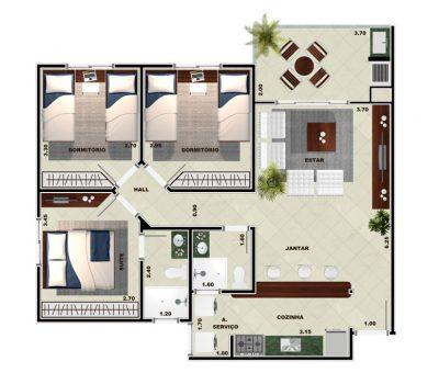 Toninhas 3 dormitórios