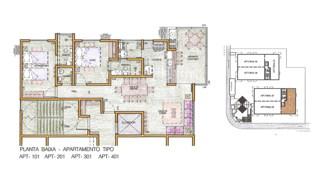 Apartamentos 2 quartos sendo uma suite