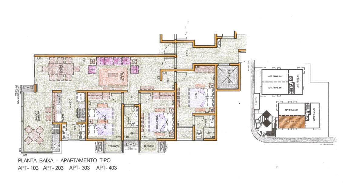 Apartamentos 3 quartos sendo uma suite